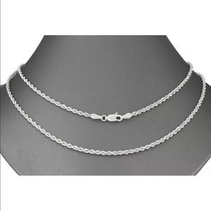"""Real 10K White Gold Rope Chain 2.5MM 22"""" Necklace"""
